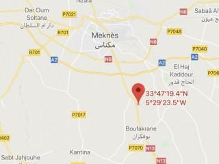 Vente d'un terrain entre Meknès et Boufekarne.